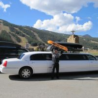 Stagecoach fleet limos parked outside of Keystone, Colorado